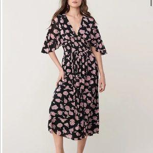NWT DVF Shirred Stretch Mesh Midi Dress
